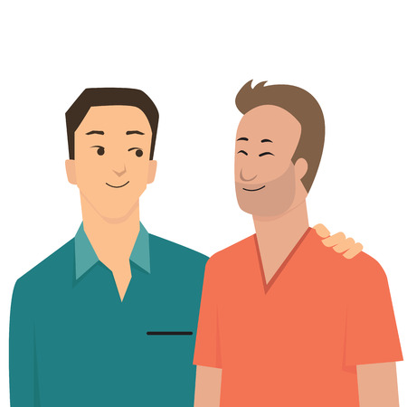 homosexual couple: Cartoon character of handsome gay couple standing by each other, looking and smiling. Romantic love in Valentine