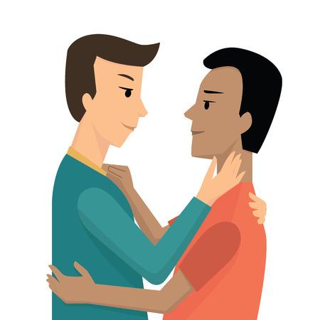 innamorati che si baciano: Personaggio dei cartoni animati di giovane coppia gay abbraccio e guardando a vicenda, romantica e San Valentino