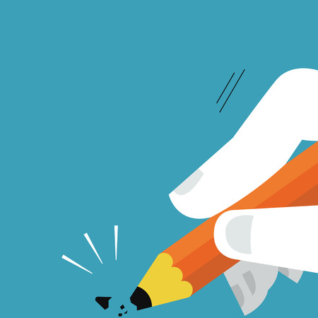 sharp pencil: Tip of pencil being broken, abstract illustration presenting to unexpected error or mistake.