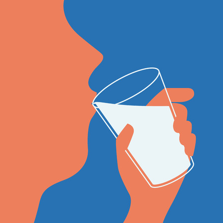 man drinking water: Illustration of man drinking water, simple and flat design style. Illustration
