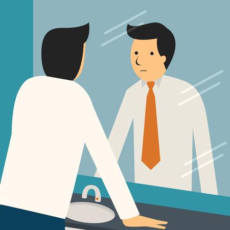 Zakenman op zoek naar zichzelf in de spiegel aan te moedigen en zichzelf te vinden zelfverzekerd. Stock Illustratie
