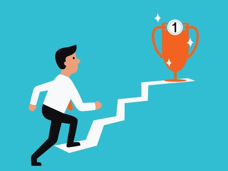 subiendo escaleras: Empresario caminando hasta trofeo, abstracto concepto de negocio ilustración en camino al éxito. Diseño plano.