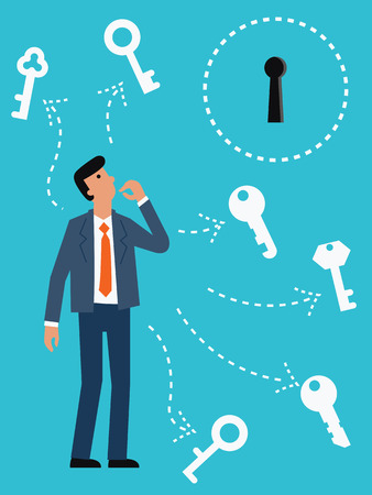 key hole: Businessman try to choose the right key for the key hole. Abstract illustration representing finding right solution for solving problem. Illustration