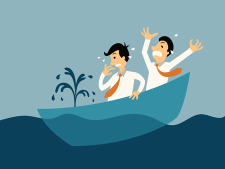 Two businessman being panic because of sinking boat, abstract illustration business concept in bankruptcy.