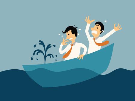 El hombre de negocios dos está entrando en pánico debido al barco que se hunde, concepto abstracto del negocio de la ilustración en bancarrota.