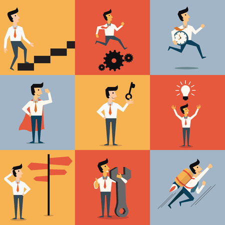 challenging: Set of cartoon character of businessman with object in many business concept. Abstract illustration, flat design. Illustration