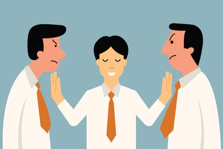 Businessman being mediator between conflict or arguing co-worker in office. 일러스트