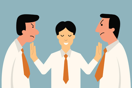 controversy: Businessman being mediator between conflict or arguing co-worker in office. Illustration