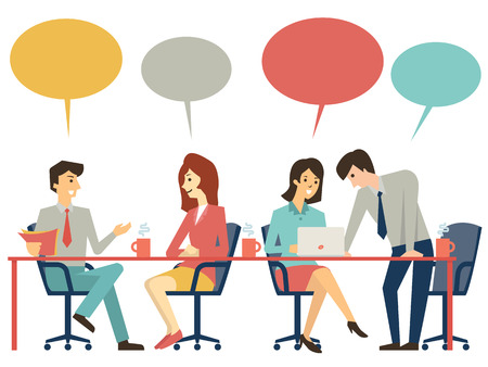 Mensen uit het bedrijfsleven, man en vrouw, aan vergadertafel, bespreken, presenteren en uitleggen concept. Plat ontwerp.