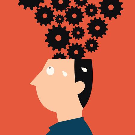 metafoor: Abstracte illustratie van menselijk hoofd met veel spullen, metafoor om hard te werken, multitasking of erg druk. Stock Illustratie