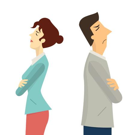 konflikt: Biznesmen i kobieta odwracając się plecami do siebie, koncepcji w konflikcie businesss, zły, argumentując, awarii lub rozwodu. Ilustracja