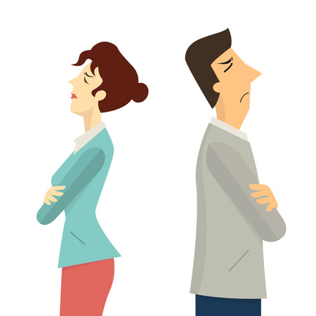 Businessman and woman turning their back to each other, businesss concept in conflict, angry, arguing, breakdown, or divorce. Ilustração