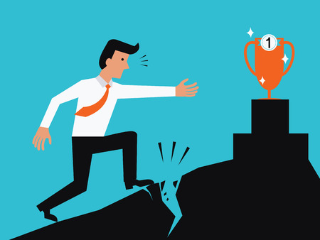 reaching: Businessman having problem or obstacle before reaching to win trophy. Business concept in problem before being successful.