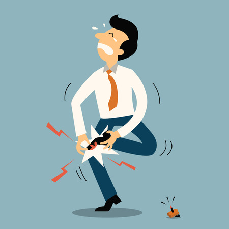 cartoon accident: Unlucky businessman get injury from stepping to nail. Business concept in accident or unfortunate event.