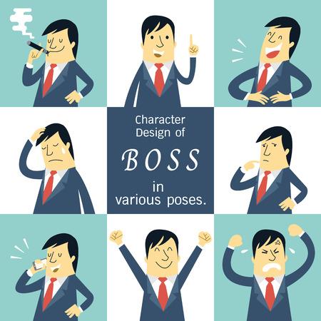 jefe enojado: Escenografía plana carácter de jefe o gerente en varias poses, sensación y el concepto de la expresión emocional.