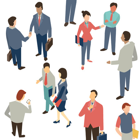 Character of Business people in communication concept, shaking hands, corporation, discussion. Multi-ethnic people and various activities.