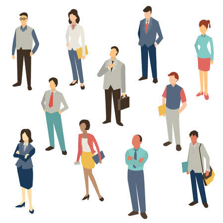 mujer trabajadora: Car�cter Dise�o plano de la gente de negocios, el hombre y la mujer, longitud completa, aislado en blanco, p�jaro-ojo-vista. Vectores