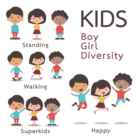 diverse teens: Cute character set of kids, boy, girl, diversity. Flat design.