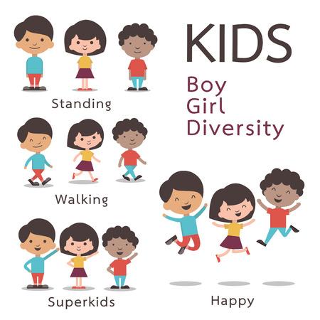ni�os caminando: Juego de caracteres lindo de los ni�os, muchacho, muchacha, la diversidad. Dise�o plano. Vectores