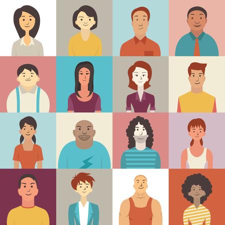 diversidad: Car�cter Dise�o plano de diversas personas sonrientes. Vectores