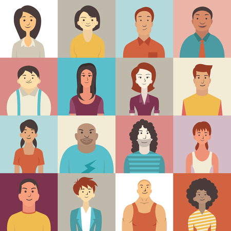 multi ethnic: Flat design character of diverse people smiling.