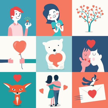 beso: Conjunto de la ilustraci�n del amor y San Valent�n