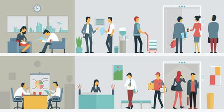 trabajo en la oficina: Dise�o plano de personas de negocios con o trabajadores de oficinas en edificio interior, varios personajes, acciones y actividades.