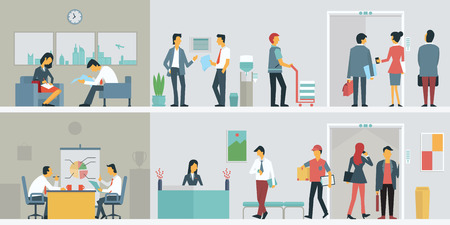 staffs: Flat design of bussiness people or office workers in interior building, various characters, actions and activities.
