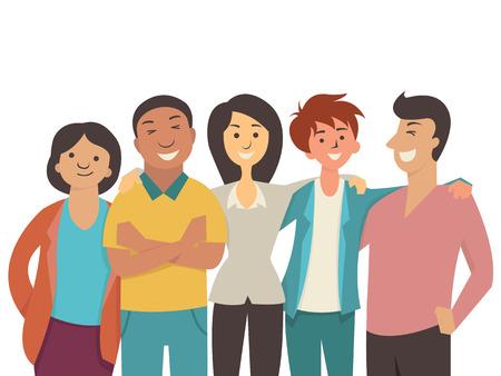 diversidad: Carácter vectorial diseño plano de diversos gente feliz, adolescente, muti-étnica, sonriente y alegre juntos.