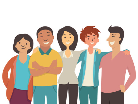 Vector character flat design of diverse happy people, teenager, muti-ethnic, smiling and joyful together. Çizim