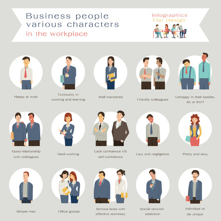 Business people in various characters in the workplace. Infographics with flat design character. Illusztráció