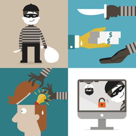 computer hacker: Flat design of cartoon character set, concept in thief, hacker, robber, burglar, and computer spam. Illustration