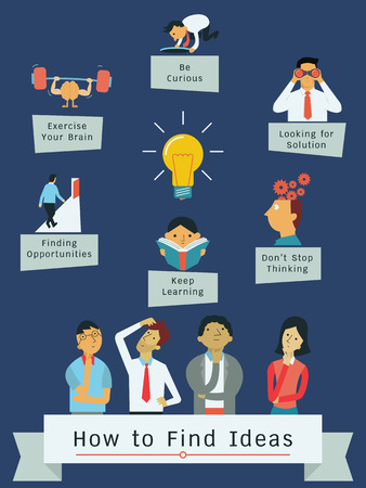 inforgraphic: Infographic presenting how to find ideas, flat design with simple character of diverse people. Illustration