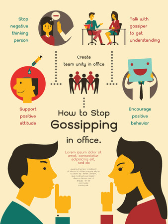 inforgraphic: Vector illustration infographics about how to stop gossipping in office. Flat design.