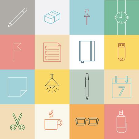 articulos oficina: Iconos línea SET, diseño plano de papelería y elementos de oficina artículos. Vectores