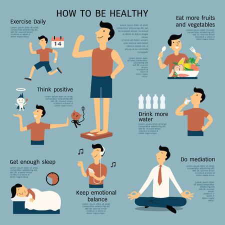 health drink: Infographics about how to be healthy, flat design, cartoon character in simple dedign.