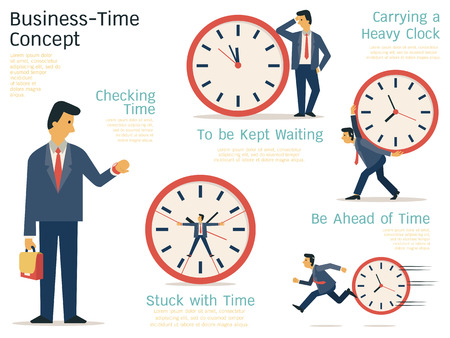 employee: Vector illustration set of businessman in various character with time concept. Flat design.