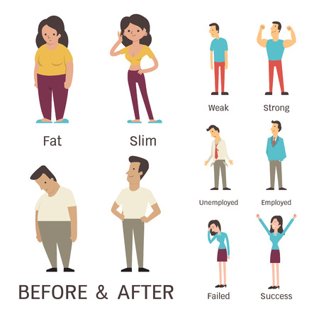 weak: Cartoon character of man and woman in before and after concept. Presenting to fat slim weak strong unemployed employed failed and success.