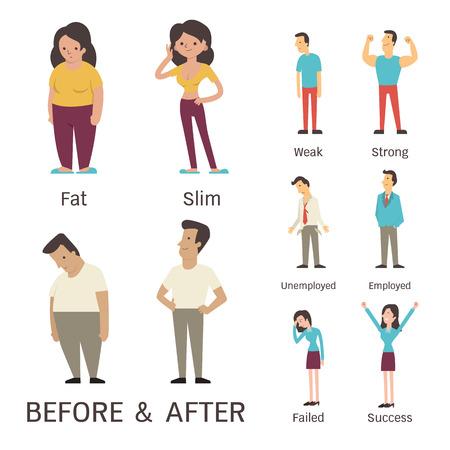 Cartoon karakter van man en vrouw in voor en na concept. Presenteren om vet slanke zwakke sterke werkloze werknemers mislukt en succes.