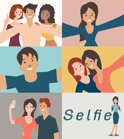 female friends: Cartoon character set of man and woman friends lovers taking selfie selfportrait in many style. Simple disign can be easy to change color and edited.