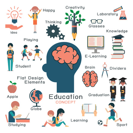 student reading: Character and flat design elements in education concept. Creativity brain idea students learning head objects graduation elearning. Illustration