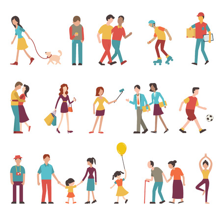 person: People in various lifestyles businesspeople woman walking to the dog teenager hipster friends sportman woman doing yoga homosexual couple lovers family. Character set with flat design style.