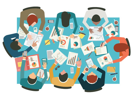stocks: Diverse businesspeople working sharing idea presenting communicating discussing at meeting table. Flat design. Top view. Illustration