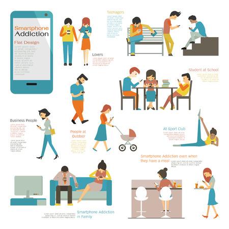 proposito: Varios y diversos gente multiétnica utilizando teléfono inteligente en concepto de adicción teléfono inteligente. Diseño plano carácter simple y fácil de usar para su propósito.