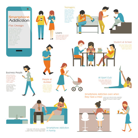Various and diverse people multiethnic using smart phone in concept of smartphone addiction. Flat design simple character and easy to use for your purpose. Ilustração