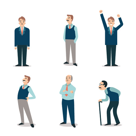 Character set of senior people elderly retired old man with cane backpain happy. Simple and flat design. Illustration