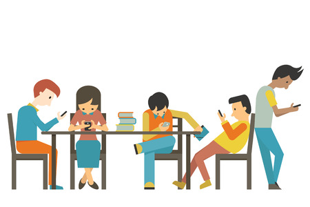 using phone: Group of student at teen age using smartphone in concept of smart phone addiction. Flat design. Illustration
