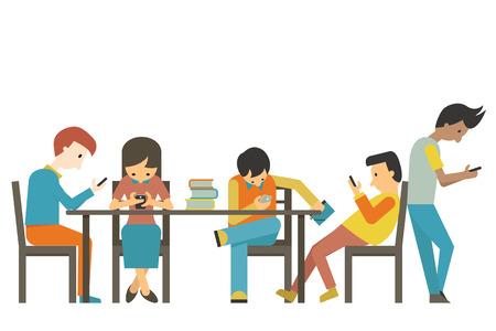 Grupo de estudiante en la edad adolescente que usa smartphone en concepto de adicción al teléfono inteligente. Diseño plano. Ilustración de vector