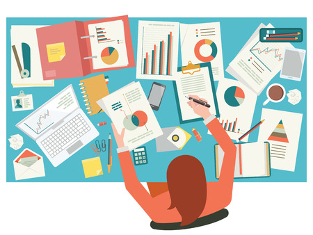 Very busy businesswoman working with paperwork on her desk at office. Flat design. Top view.