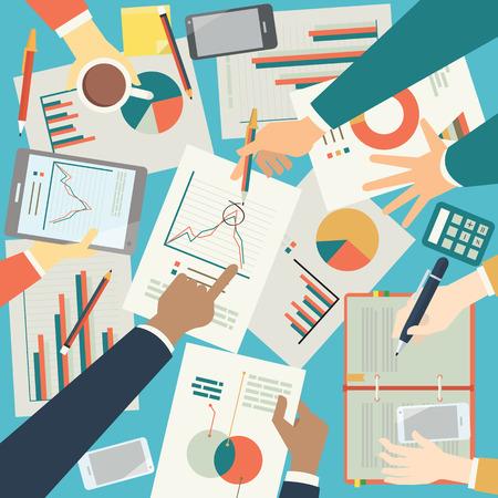 ビジネスマンについて方眼紙、危機のビジネスを示すピクトグラム。トップの角度。フラットなデザイン。  イラスト・ベクター素材